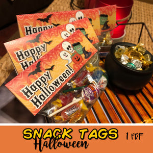 HALLOWEEN FAVOR BAG TAGS - Halloween Chocolate/Candy - PDF file - Instant Download -