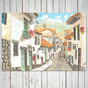 COLONIAL STREET IN SAN BLAS, CUZCO, PERU Giclee Print - Cuzco, Peru - Watercolor Printing, Watercolor Traditional Art