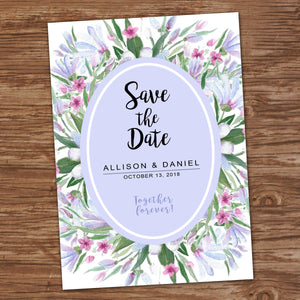SAVE THE DATE - WATERCOLOR FLOWERS - Printed Wedding Cards