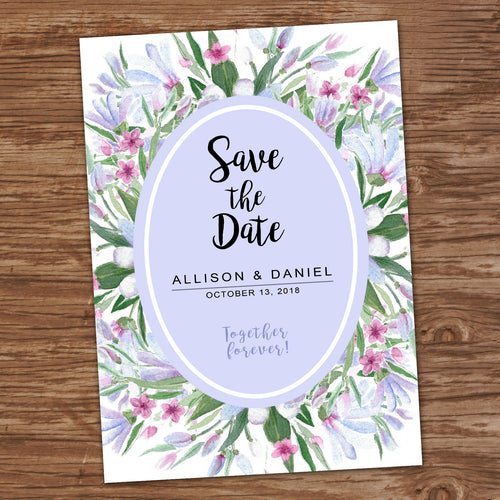 SAVE THE DATE - WATERCOLOR FLOWERS - Wedding Cards -Digital File -
