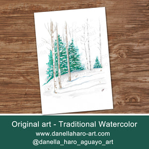 WATERCOLOR WINTER - SEASON'S GREETINGS Cards - Printed -