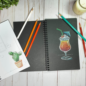 BLACK PAPER SKETCHBOOK Journal - Cactus Cover - Wire Binding - BLACKOUT Doodle Notebook Sketchbook