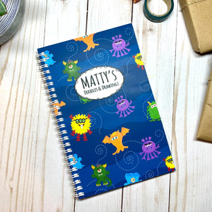 CUTE KIDS MONSTERS CUSTOMIZED SKETCHBOOK Journal - Cute Kids' Monsters Cover with Name- Wire Binding - Doodle & Drawings Notebook Sketchbook