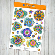 HIPPIE 60's FLOWERS STICKER SHEET - Scrapbook and Planner Sticker Set - Stickers
