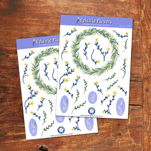 DELICATE FLOWERS STICKER SHEET - Scrapbook and Planner Sticker Set - Stickers