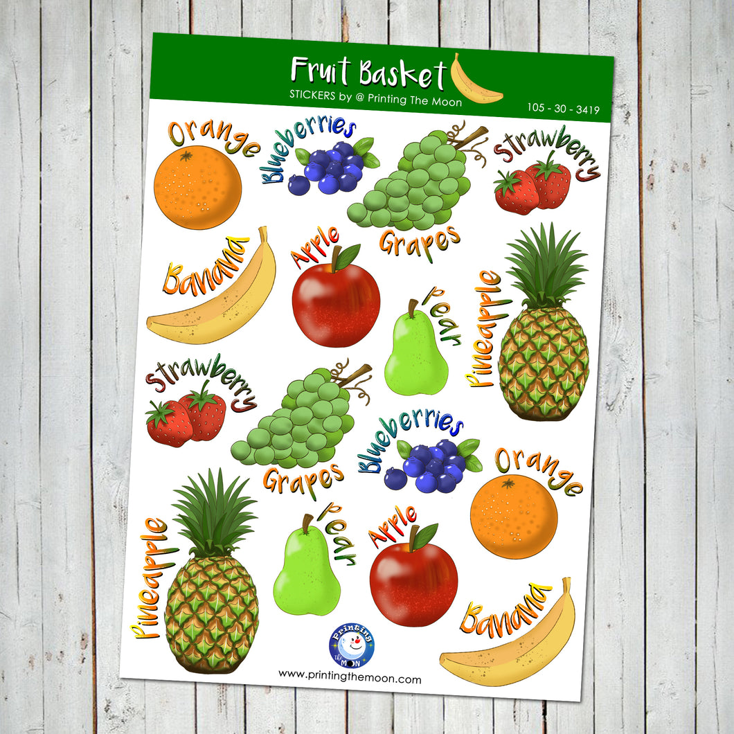 FRUIT BASKET STICKER SHEET - Scrapbook and Planner Sticker Set - Stickers
