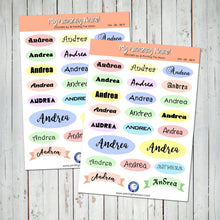 PERSONALIZED NAME STICKER SHEET - Scrapbook and Planner Sticker Set - Stickers