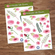 WATERCOLOR PINK FLOWERS STICKER SHEET - Scrapbook and Planner Sticker Set - Stickers