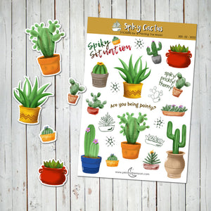 STICKERS CACTUS & SUCCULENTS Watercolor -Sticker Sheet - Scrapbook and Planner Sticker Set