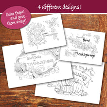 THANKSGIVING Color-In Cards - Happy Thanksgiving - PDF file - Instant Download