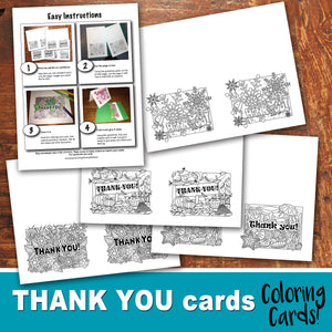 THANK YOU Cards - Color In - Coloring Seasons Cards- PDF file - Instant Download