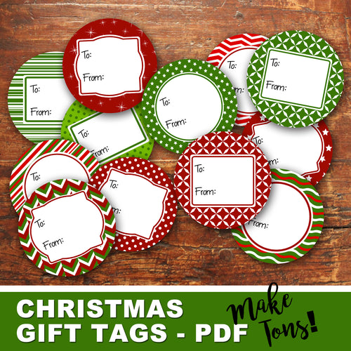 ROUND CHRISTMAS GIFT TAGS - PDF - Digital file -Instant Download-