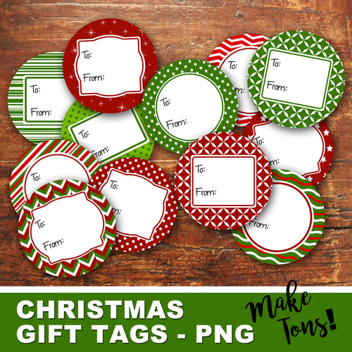 ROUND CHRISTMAS GIFT TAGS - PNG - Digital file -Instant Download-