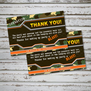 DART GUN WARS - Thank you Card - Collection #1 - Dart Gun Wars party – Digital file