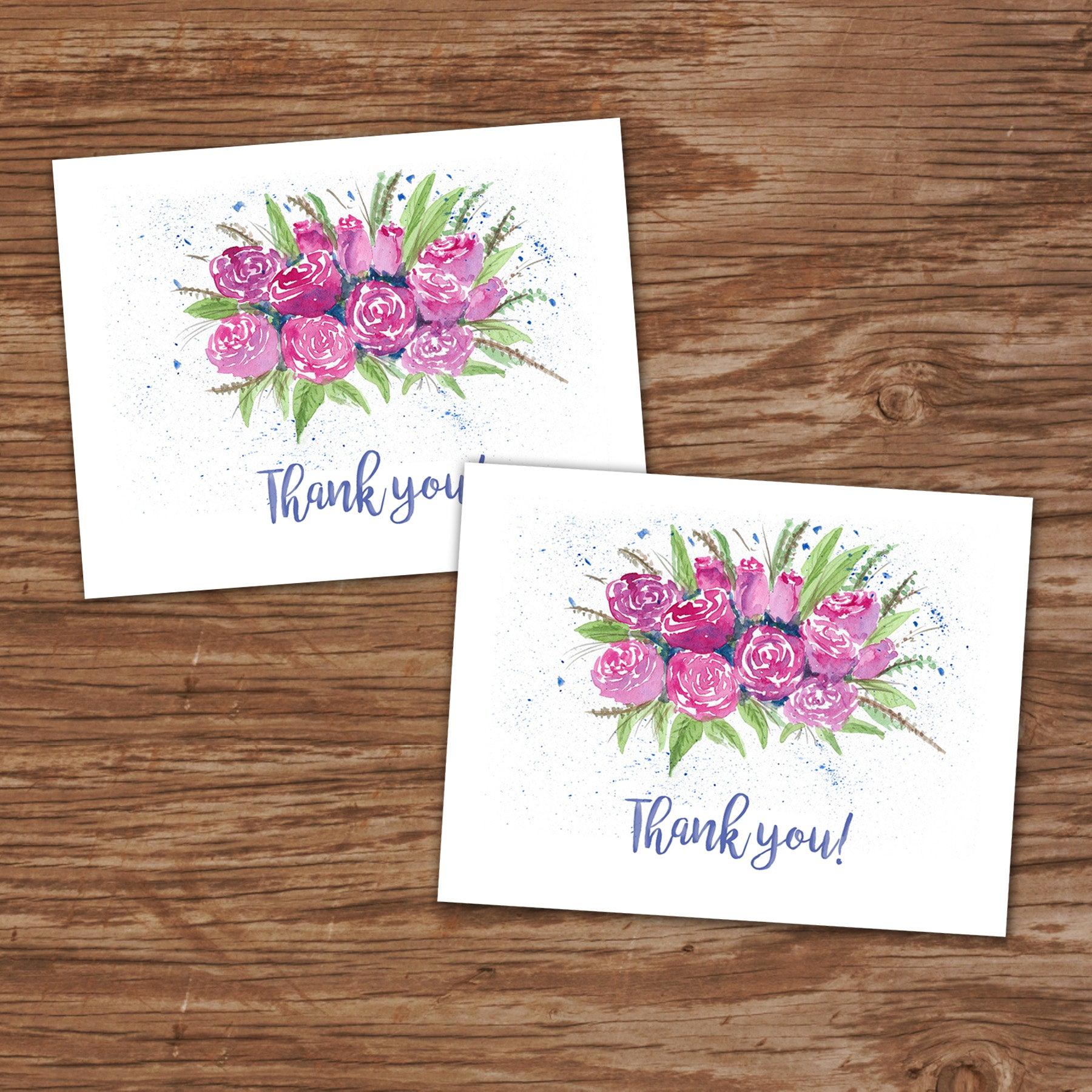 watercolor flowers  thank you cards  set of 2  printing