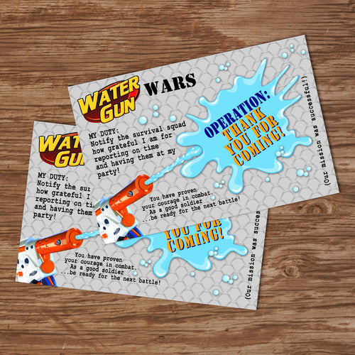 WATER GUN WARS - Thank you Card - Water Gun Wars party – Digital file