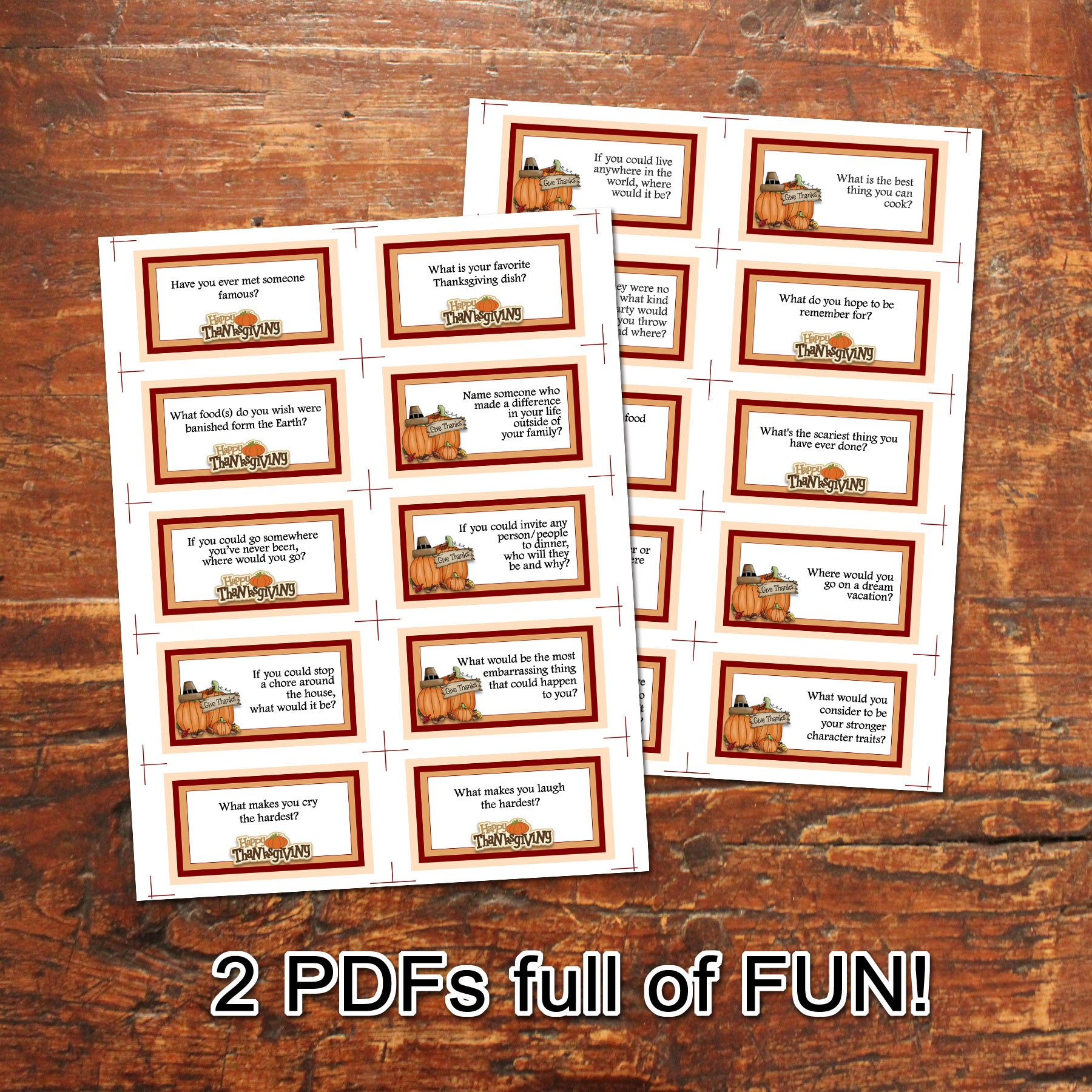 THANKSGIVING CARD GAME Dinner table game PDF file Instant