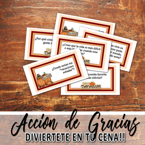 Dia de ACCION DE GRACIAS - THANKSGIVING CARD GAME - Espanol - PDF file - Instant Download