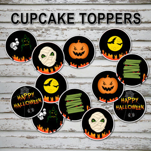 HALLOWEEN - CUPCAKE TOPPERS – Halloween Skeleton Party -Digital file -Instant Download-