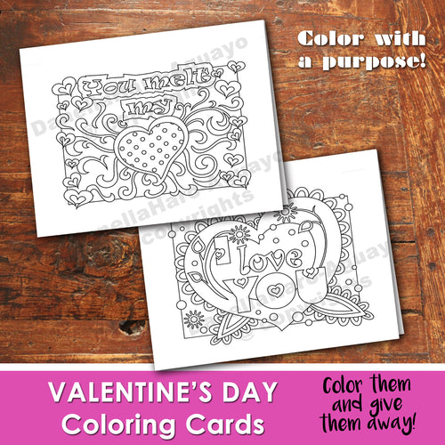 VALENTINE'S DAY Color In Cards - PDF file - Instant Download