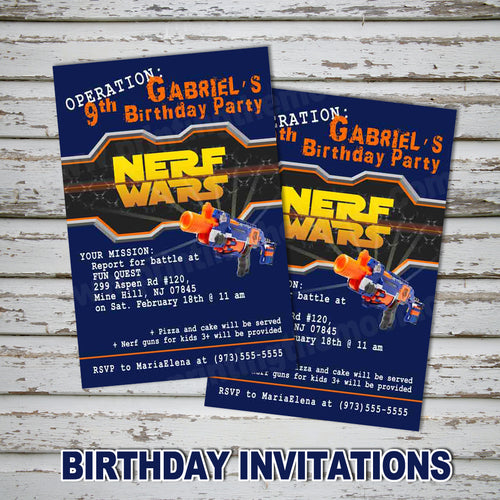 DART GUN WARS Invitation – Collection #4 -Digital file, Dart guns party