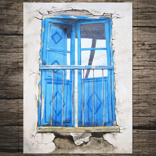 COLONIAL OLD DOOR BALCONY Giclee Print - Cuzco, Peru - Watercolor Printing, Watercolor Traditional Art