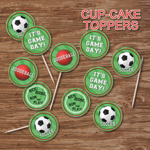 SOCCER AND DODGEBALL - Cupcake Toppers - Soccer party – Digital file