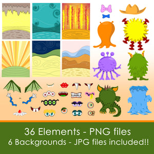CUTE MONSTERS - CLIP ART- PNG files and PDF files to print and play!