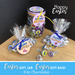 HAPPY EASTER Jar Gift - Chocolate Kiss Jar - PDF file - Instant Download -