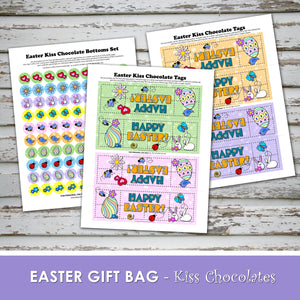 HAPPY EASTER Favor Bags - Chocolate Kiss Bag - PDF file - Instant Download -