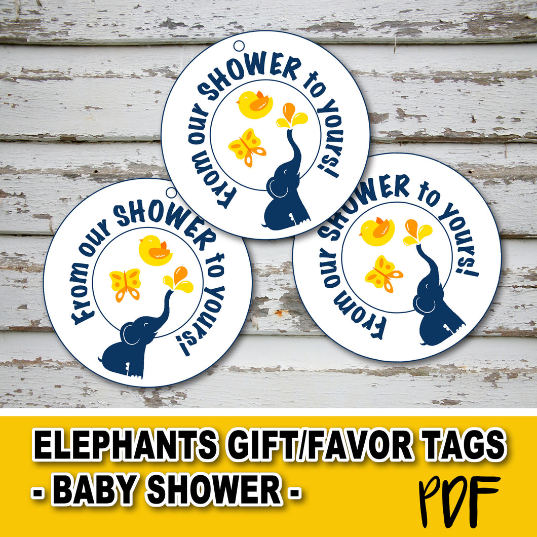 BABY SHOWER ELEPHANT GIFT TAGS - Baby Shower party – Digital file