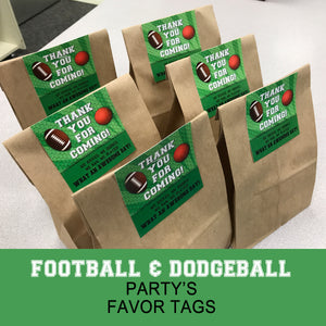 FOOTBALL AND DODGEBALL - Favor Tags - Football party – Digital file