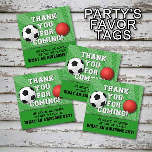 SOCCER AND DODGEBALL - Favor Tags - Soccer party – Digital file