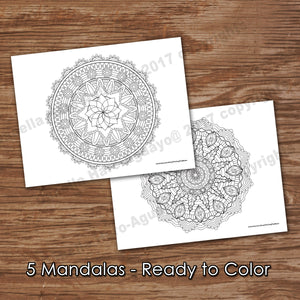 MANDALA - FLOWER collection - Easy Color In - PDF file - Instant Download