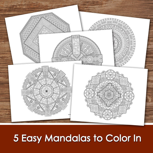 MANDALA - ETHNIC collection - Easy Color In - PDF file - Instant Download