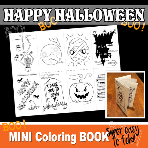 HALLOWEEN Mini Book - Color In - PDF file - Instant Download