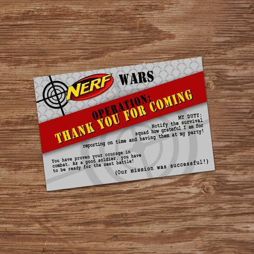 DART GUN WARS - Thank you Card - Collection #3 - Dart Gun Wars party – Digital file