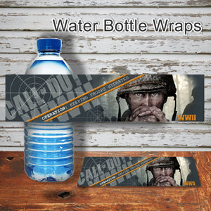 CALL of DUTY - WWII - Water Bottle Wrappers – Digital file -Instant Download-