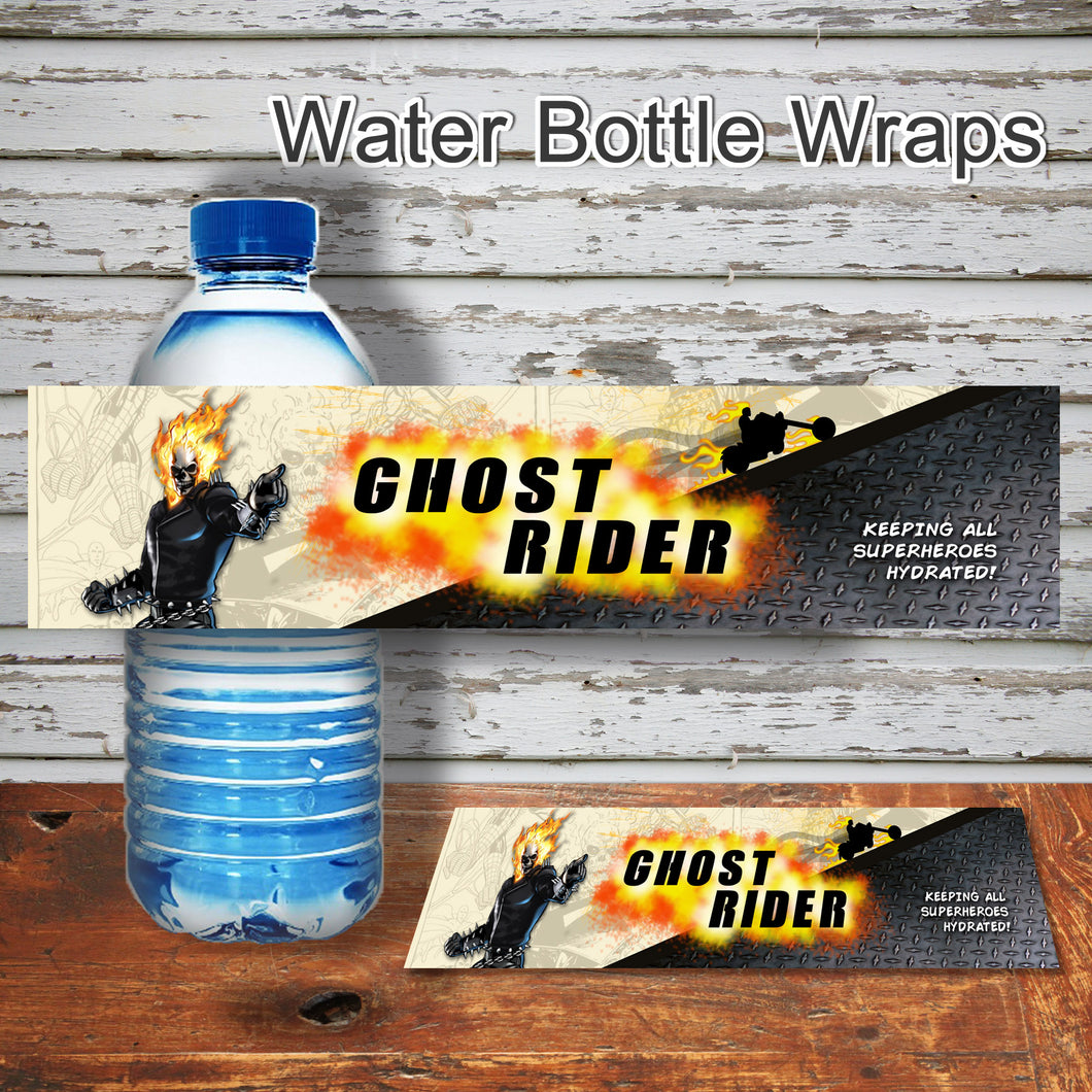 GHOST RIDER- Water Bottle Wrappers – Digital file -Instant Download-