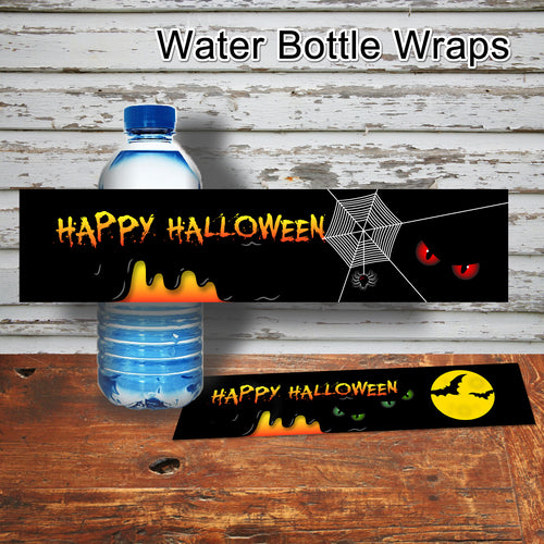 HALLOWEEN - Water Bottle Wrappers – Halloween Skeleton Party -Digital file -Instant Download-