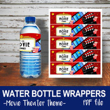 MOVIE THEATER - Birthday WATER BOTTLE WRAPPERS - Movies Cinema party – Digital file