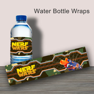 DART GUN WARS- Water Bottle Wrappers – Collection #1 - Digital file -Instant Download-