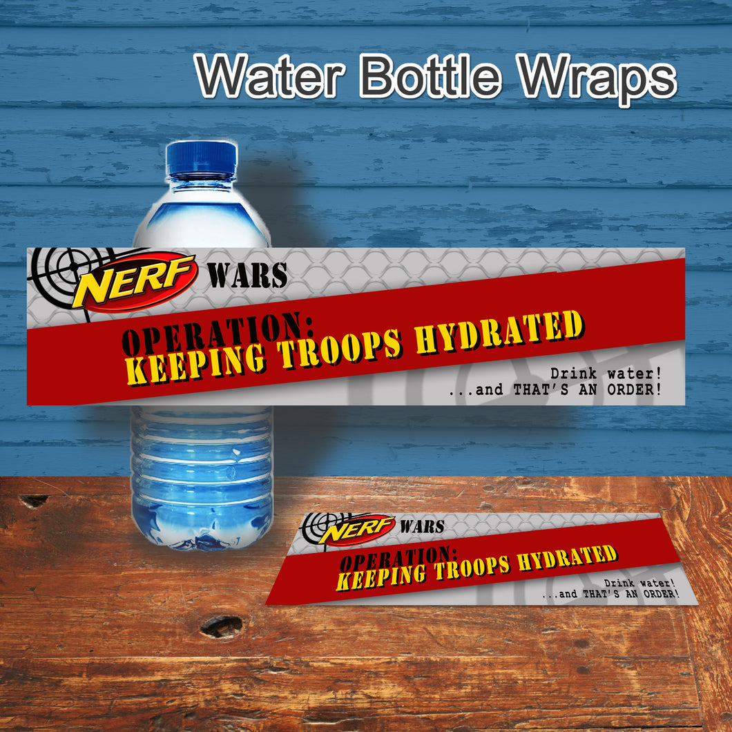 DART GUN WARS- Water Bottle Wrappers – Collection #3 - Digital file -Instant Download-