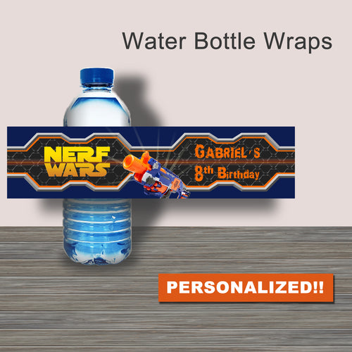 DART GUN WARS- Water Bottle Wrappers -PERSONALIZED – Collection #4 - Digital file -