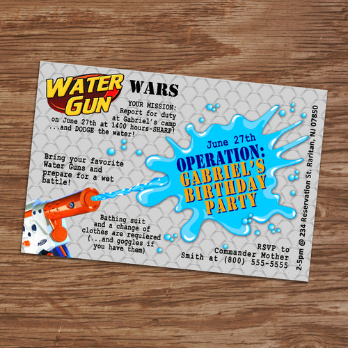 WATER GUN WARS Invitation – Digital file, Water guns party