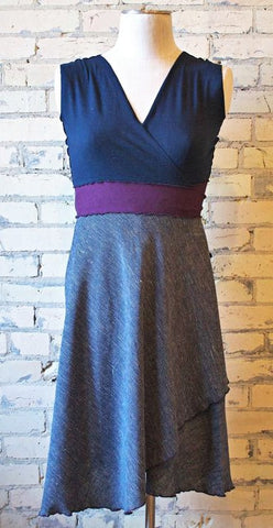Midnight Blue Navy Wrap Dress Hemp & Organic Cotton