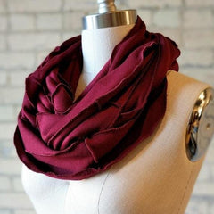 Wine Red Bamboo Fleece Infinity Scarf