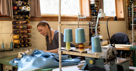 Yana Dee sewing in her Michigan studio 2020