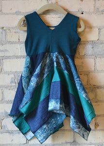 1-2 Year Teal Square Dress - Handmade Organic Clothing