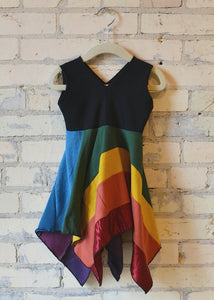 1-2 Year Rainbow Square Dress - Handmade Organic Clothing